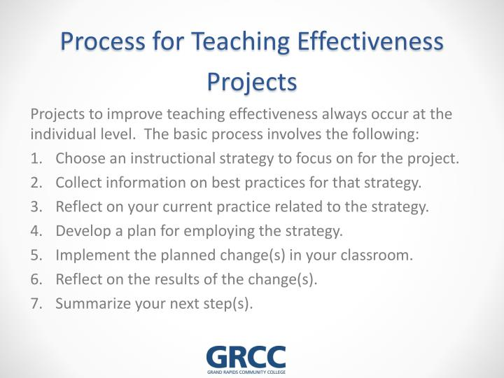 Process for Teaching Effectiveness Projects