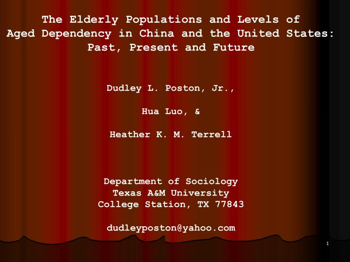 The Elderly Populations and Levels of