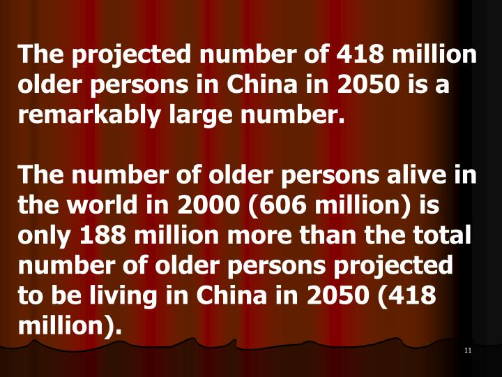 The projected number of 418 million older persons in China in 2050 is a remarkably large number.