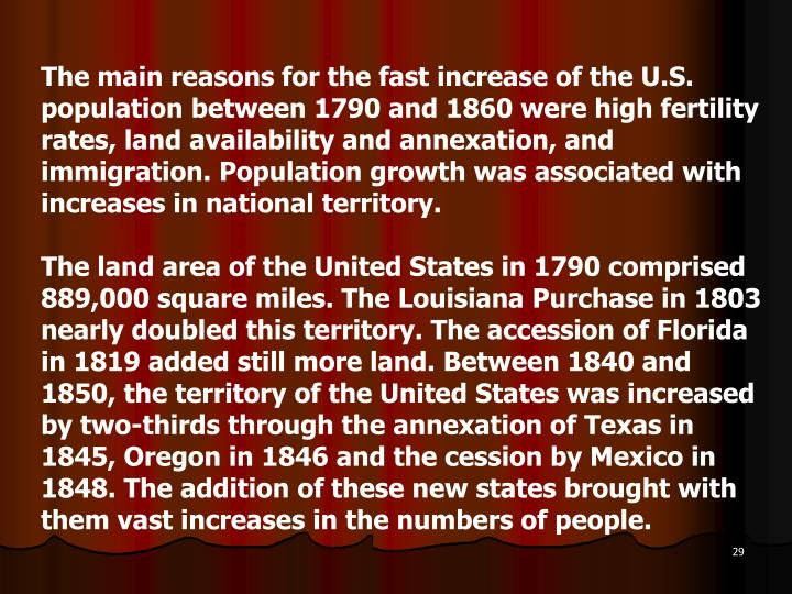 The main reasons for the fast increase of the U.S. population between 1790 and 1860 were high fertility rates, land availability and annexation, and immigration. Population growth was associated with increases in national territory.
