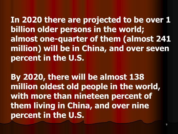 In 2020 there are projected to be over 1 billion older persons in the world; almost one-quarter of them (almost 241 million) will be in China, and over seven percent in the U.S.