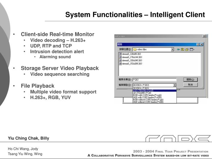 System Functionalities – Intelligent Client