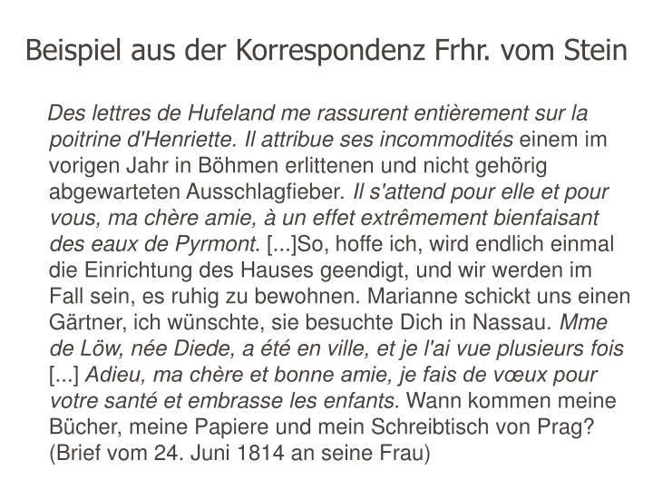 Beispiel aus der Korrespondenz Frhr. vom Stein