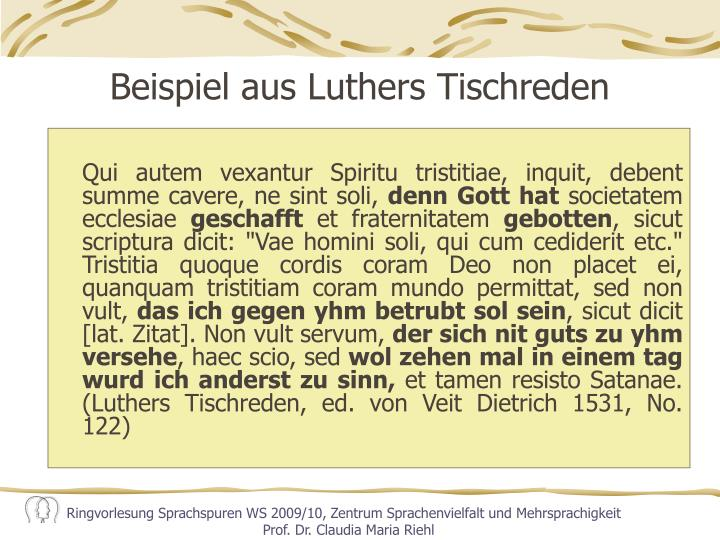 Beispiel aus Luthers Tischreden