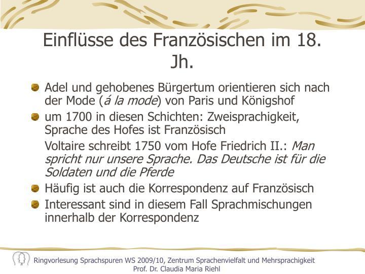 Einflüsse des Französischen im 18. Jh.