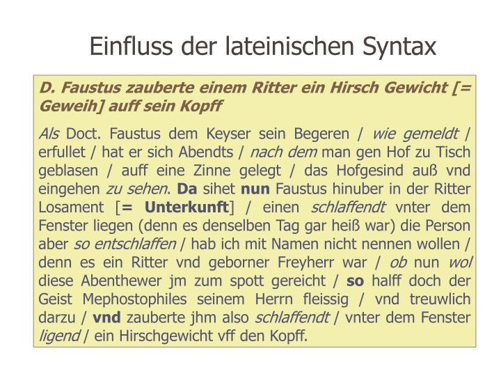 Einfluss der lateinischen Syntax