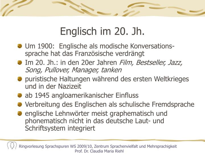 Englisch im 20. Jh.