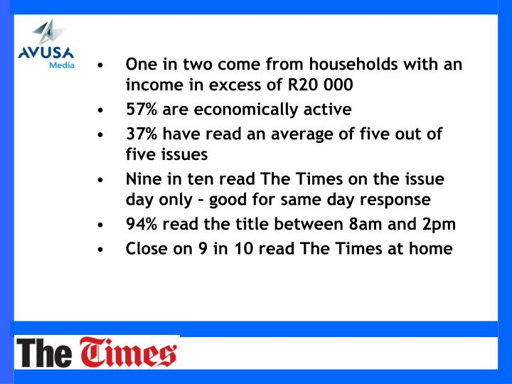 One in two come from households with an income in excess of R20 000