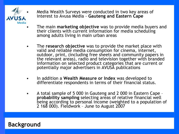 Media Wealth Surveys were conducted in two key areas of interest to Avusa Media -