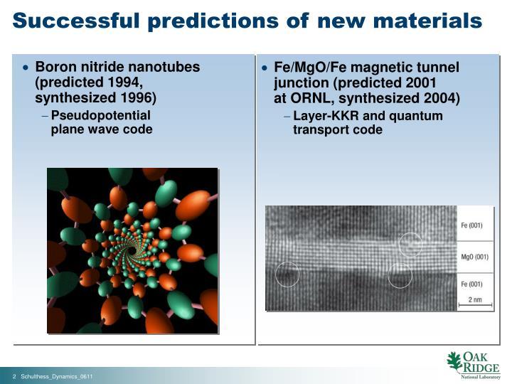 Successful predictions of new materials