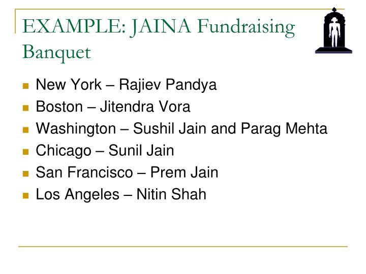 EXAMPLE: JAINA Fundraising Banquet