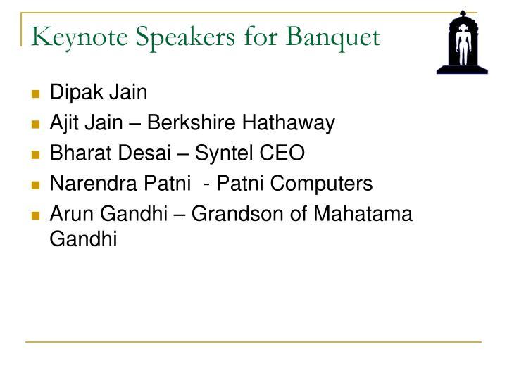 Keynote Speakers for Banquet