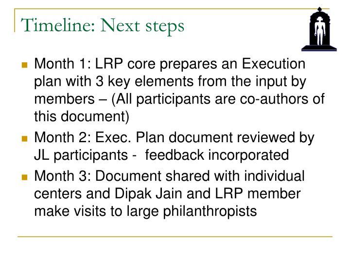 Timeline: Next steps