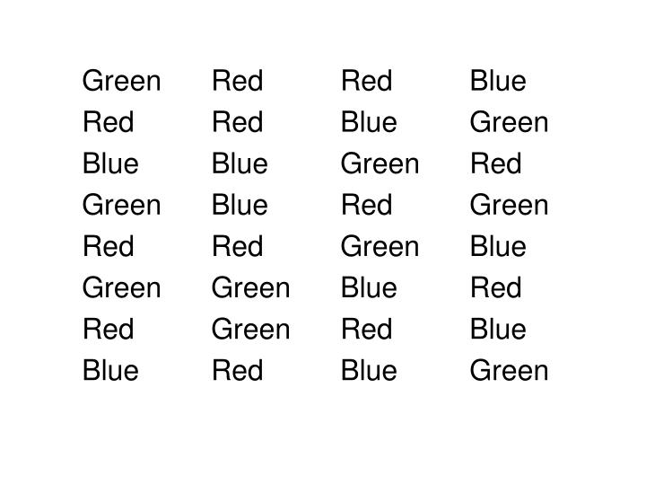 Green	Red		Red		Blue