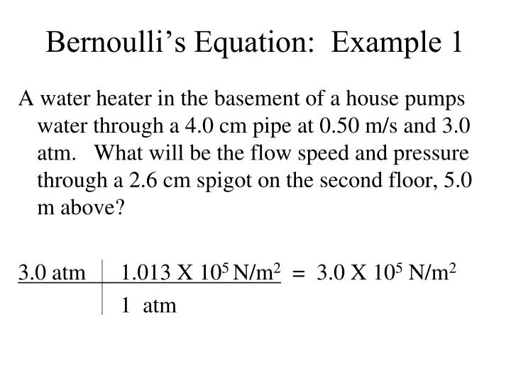 Bernoulli's Equation:  Example 1