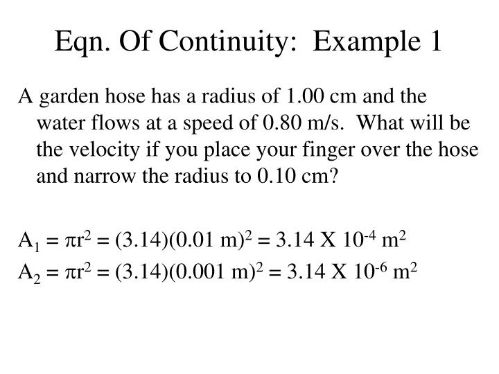 Eqn. Of Continuity:  Example 1