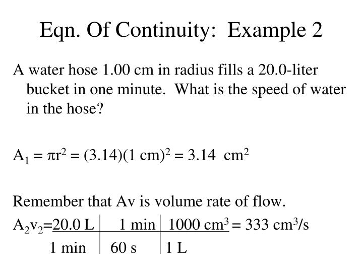 Eqn. Of Continuity:  Example 2