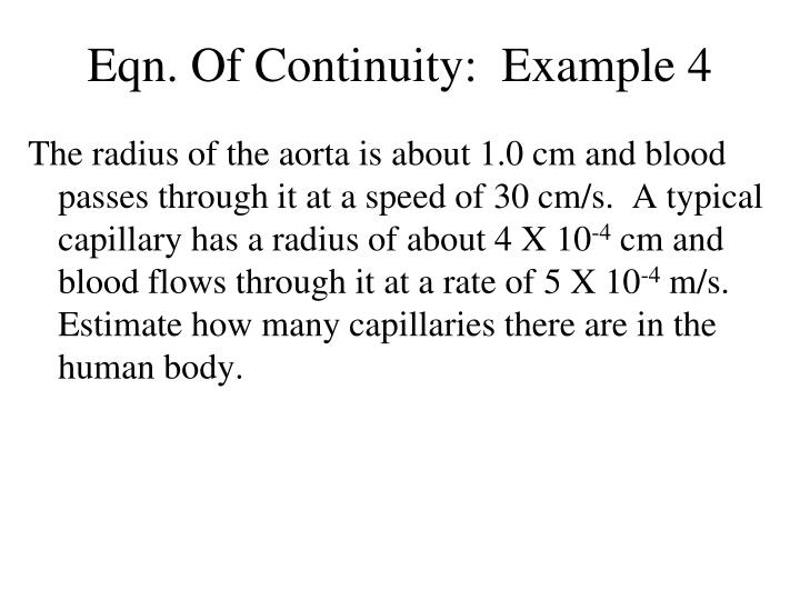 Eqn. Of Continuity:  Example 4