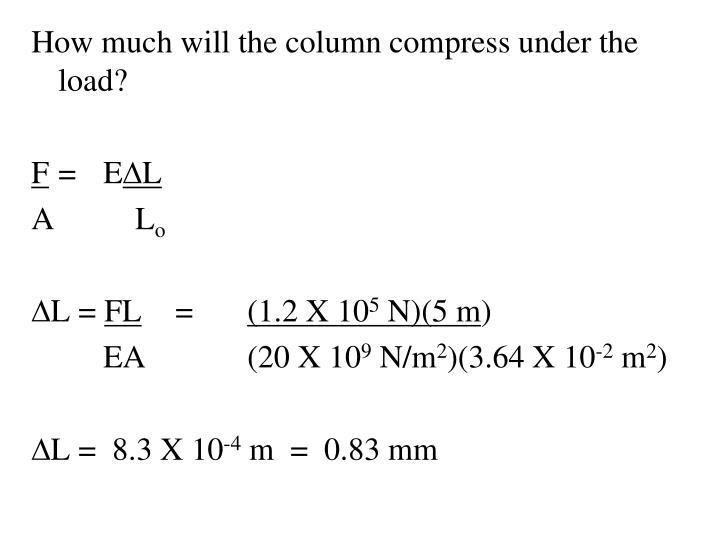 How much will the column compress under the load?