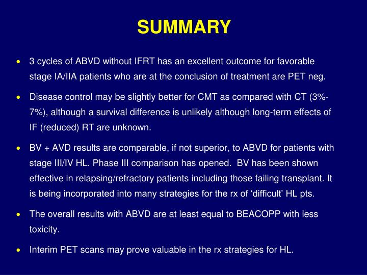 3 cycles of ABVD without IFRT has an excellent outcome for favorable stage IA/IIA patients who are at the conclusion of treatment are PET neg.
