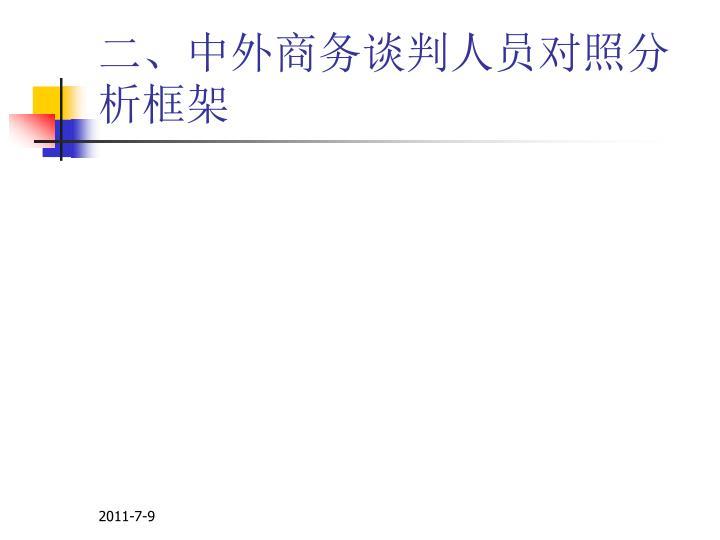 二、中外商务谈判人员对照分析框架