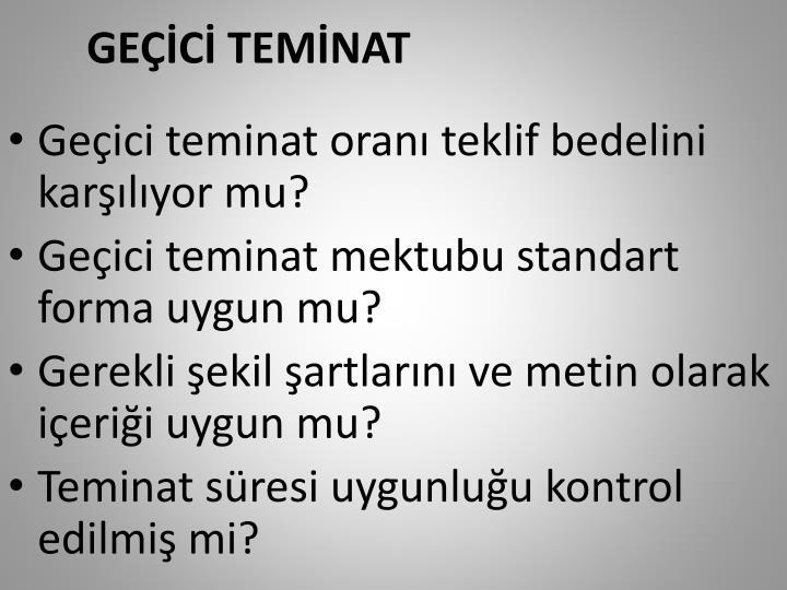 GEÇİCİ TEMİNAT