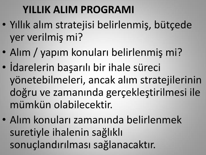 YILLIK ALIM PROGRAMI