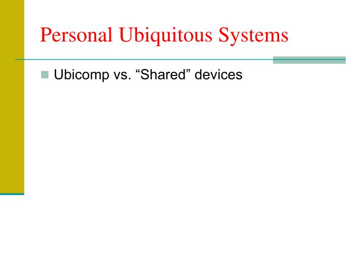 Personal Ubiquitous Systems