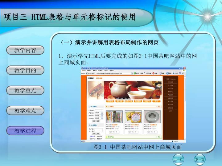 (一)演示并讲解用表格布局制作的网页