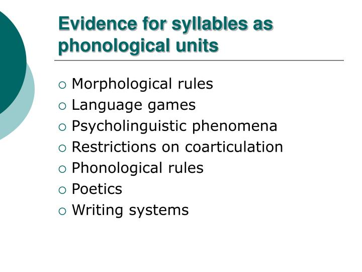 Evidence for syllables as phonological units