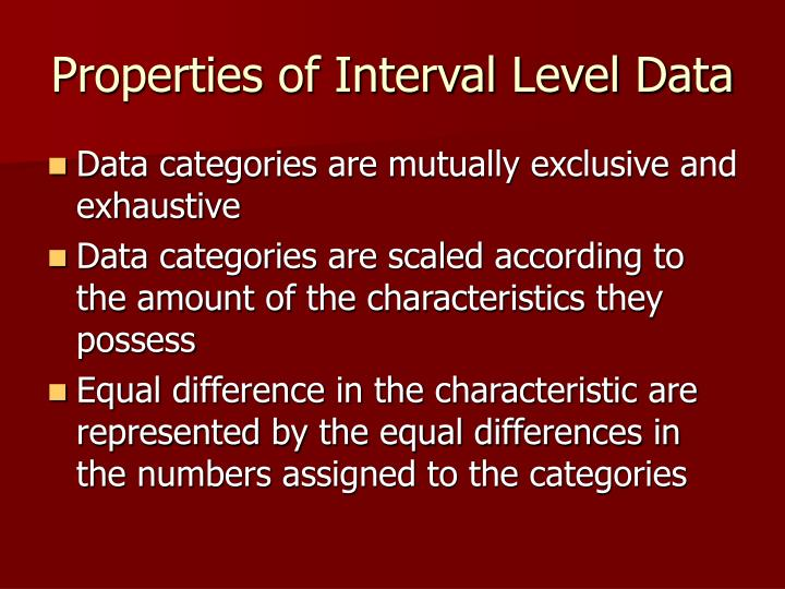 Properties of Interval Level Data