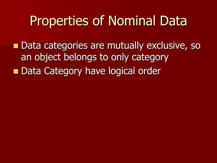Properties of Nominal Data