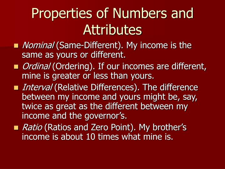Properties of Numbers and Attributes