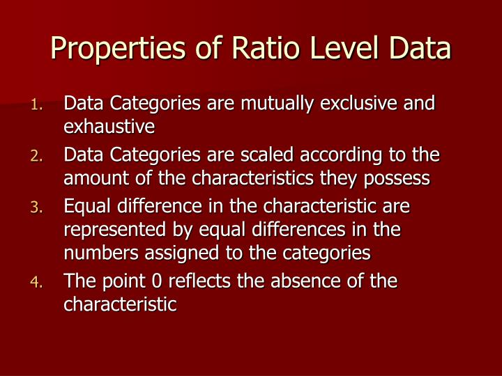 Properties of Ratio Level Data