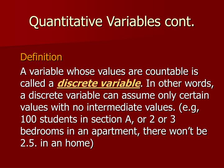 Quantitative Variables cont.
