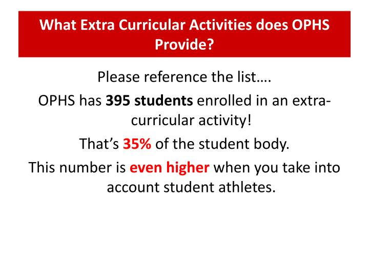 What Extra Curricular Activities does OPHS Provide?