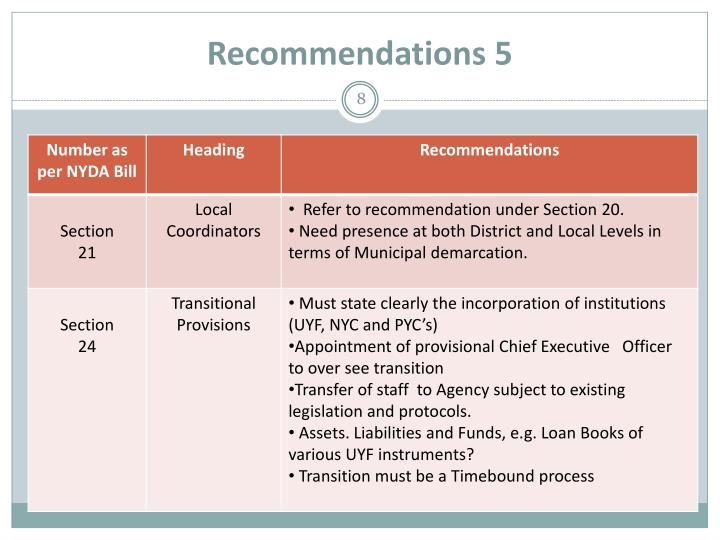 Recommendations 5