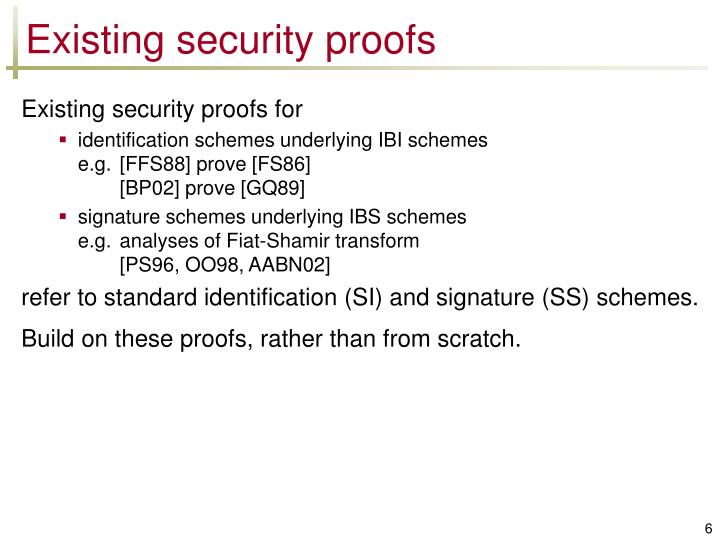 Existing security proofs