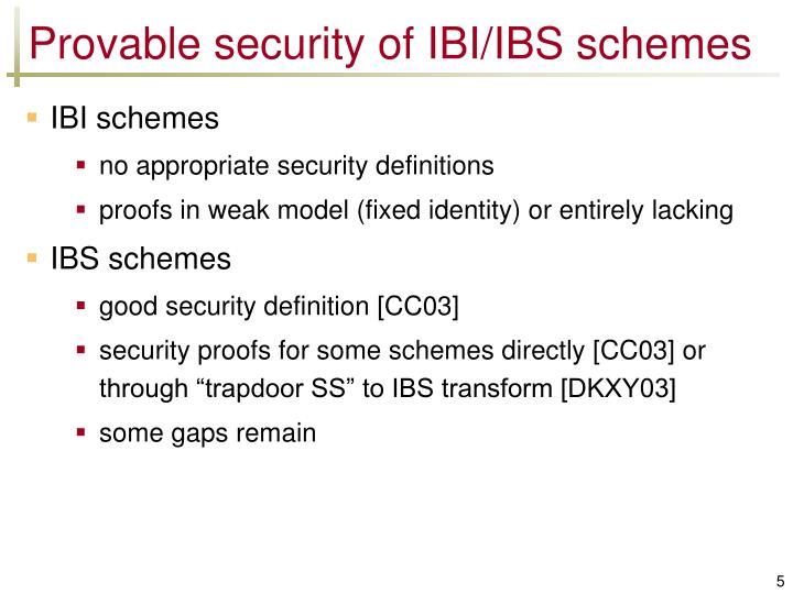 Provable security of IBI/IBS schemes