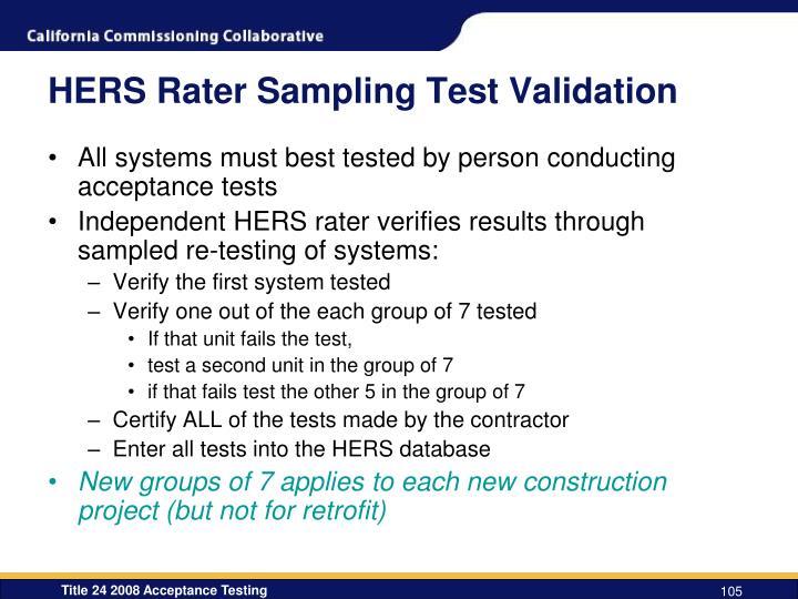 HERS Rater Sampling Test Validation