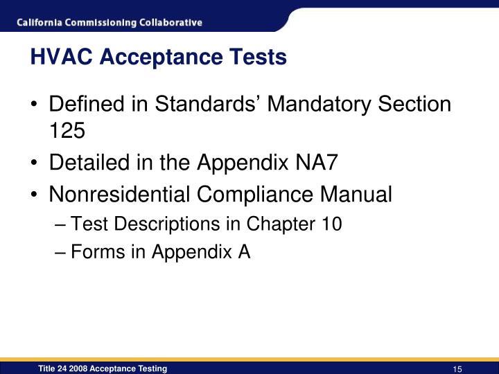 HVAC Acceptance Tests