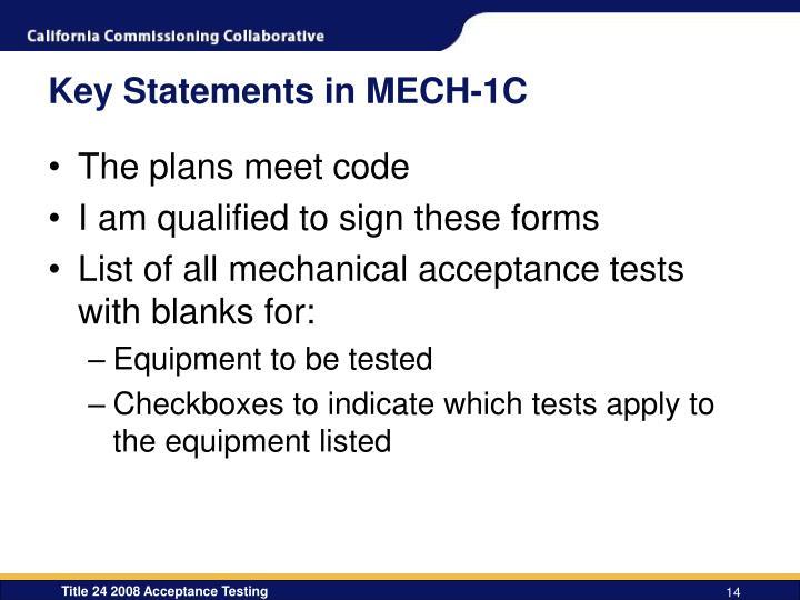 Key Statements in MECH-1C