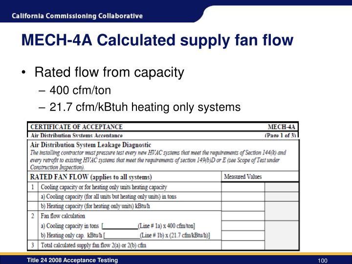 MECH-4A Calculated supply fan flow