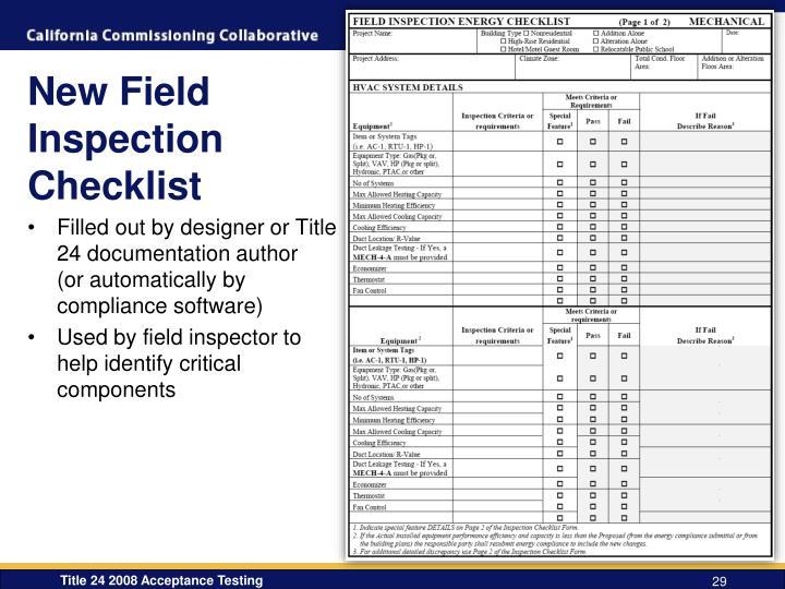 New Field Inspection Checklist