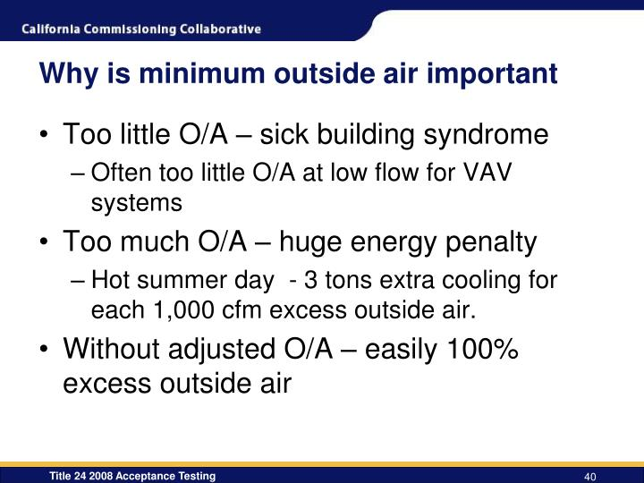 Why is minimum outside air important