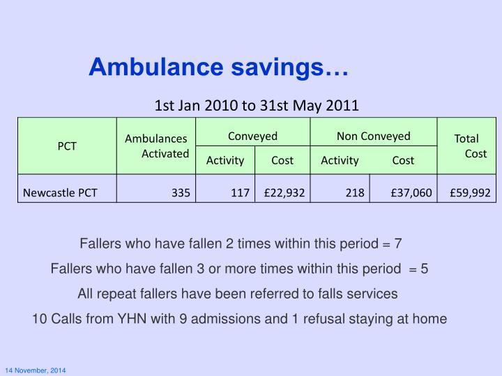 Ambulance savings…