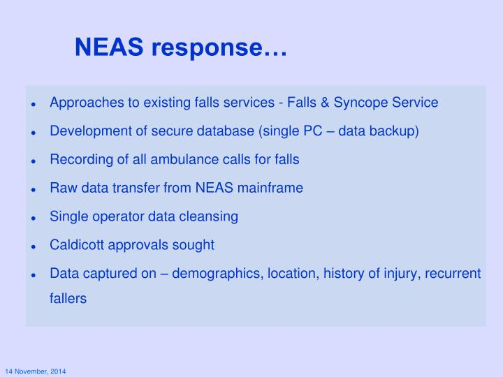 NEAS response…