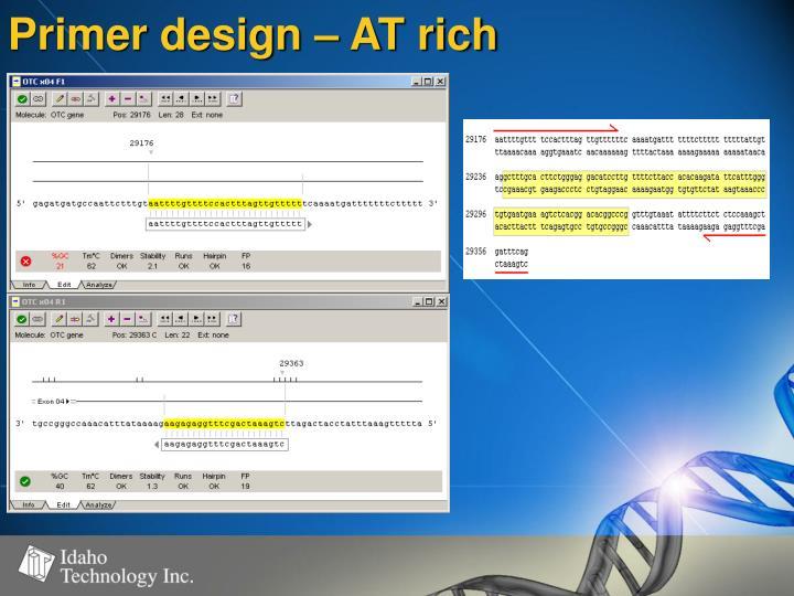 Primer design – AT rich