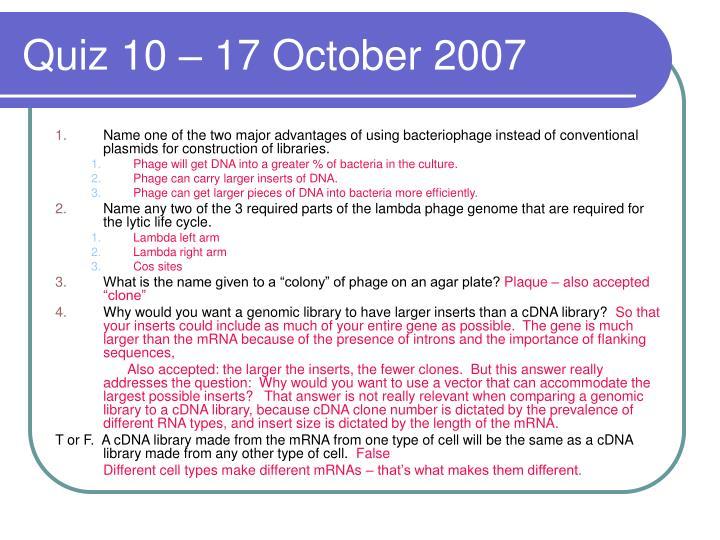 Quiz 10 – 17 October 2007