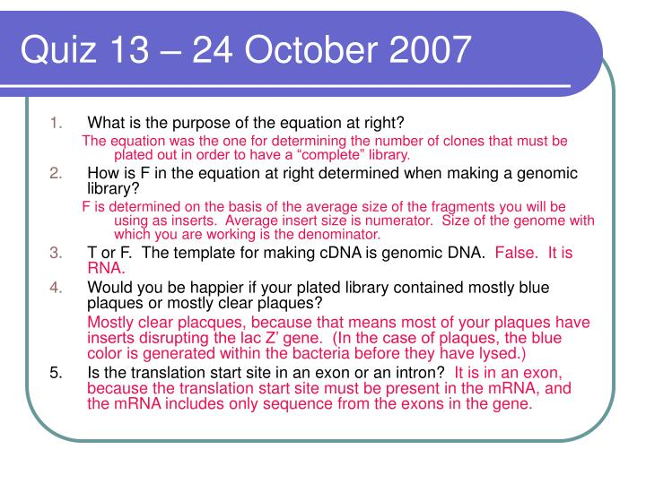 Quiz 13 – 24 October 2007